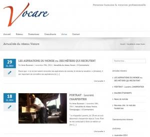 Copie d'écran des actualités du site du réseau vocare