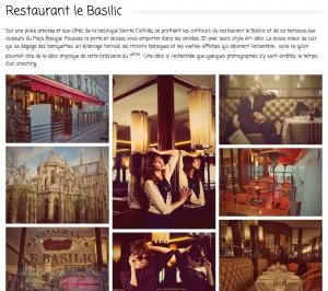 Copie d'écran de la galerie d'images du restaurant le Basilic